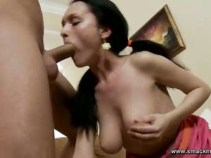 Tit Fondling Chick Gives A Deepthroat Blowjob