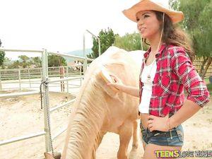 Slutty Teen Cowgirl Bent Over And Fucked