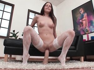 Excited Young Pussy Opens For Her Huge Dildos