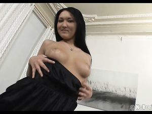 Perky Tits Seductress Strips To Her Black Stockings