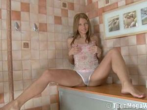 Russian Girl Sits On A Big Dildo And Rides It Lustily