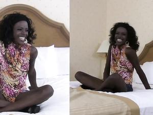 Skinny Ebony Slut In His Hotel Room For Cock