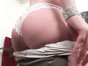 Elegant Satin Is Sexy On This Cute Blonde Fuck Slut
