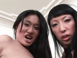 Pink Cock Slides Into Her Asian Lesbian Pussy