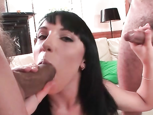 Slut With A Dick In Each Hand Blows Her Men