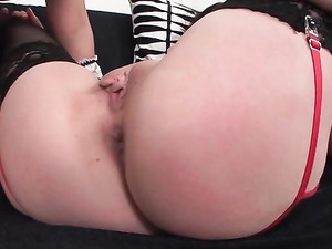 Soaked Snatch Of A Stockings Girl Takes A Huge Toy