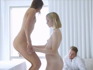 Beautiful Young Bisexuals Give Him A Hot Threesome