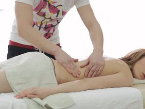 Slender Babe On The Massage Table Craves His Cock
