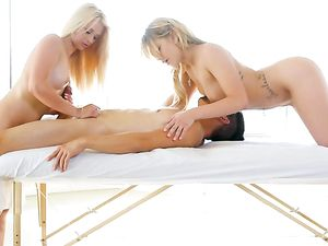 Double Team Massage From Blazing Hot Blonde Teens