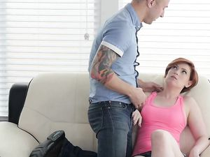 Redhaired Girl Gets Hardcore Fuck With Boy In Doggystyle pose