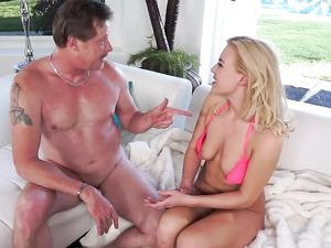 Hot Mature Milf In Pink Lingerie Fucks With Man On The Coach